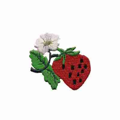 Fruit - Strawberries - Strawberry with Vine and Flower Iron On P