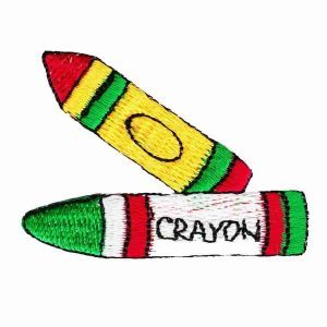 Embroidered Double Crayons Iron On Childrens Applique