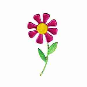 Daisy in bright PINK Iron On Floral Applique - 10 left!