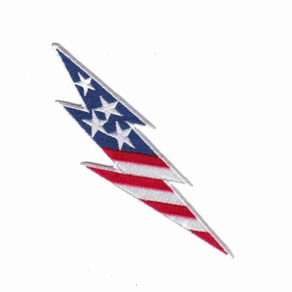 U.S. Flag Lightning Bolt Iron On Applique