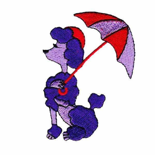Dogs - Red Hat Poodle with Umbrella