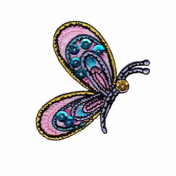Butterflies - Side Wing Sequined Butterfly Iron On Patch Applique