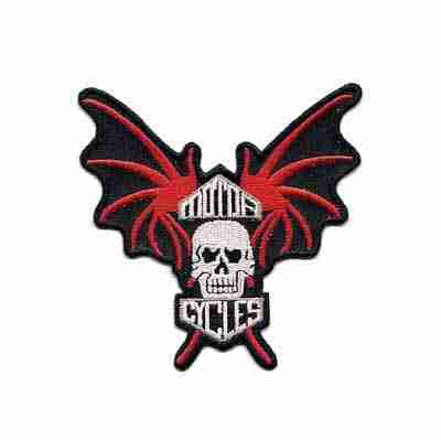 Bat Wing Motorcycle Iron On Skull Patch