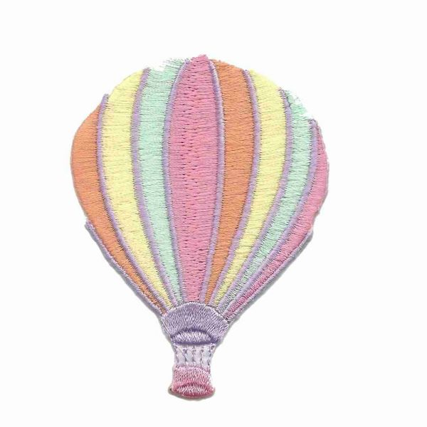 Medium Hot Air Balloon in pastel colors Iron On Patch Applique