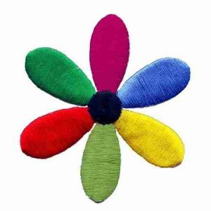 6-Petal Bright Colored Daisy Flower Iron On Floral Applique