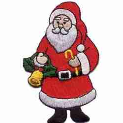 Christmas Santa Claus with Bell Iron on Applique