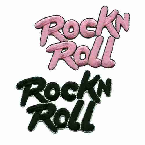 Rock and Roll Embroidered Script in Pink or Black - Sold Separately