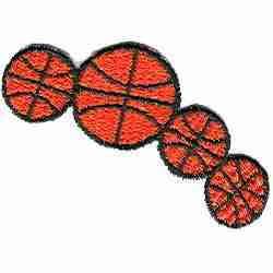 Basketball - Four Basketballs Iron On Sports Patch