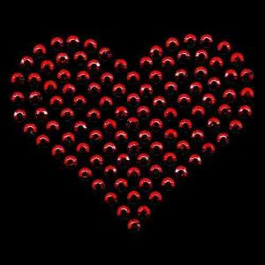 Hearts - Rhinestud Large Heart Iron On Hotfix Applique on Black background