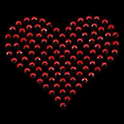 Hearts - Rhinestud Large Heart Iron On Hotfix Applique on Black background