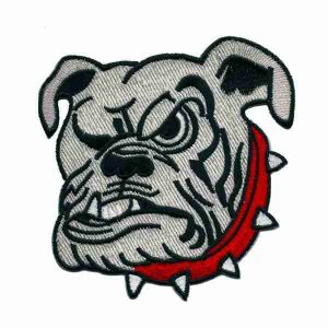 "Dogs - English Bulldog Face Large 4-1/2"" Iron on Patch Applique"