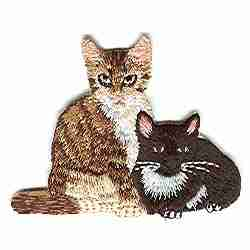 Cats - Pair of Curious Cats Iron on Patch Applique