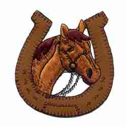 Horses - Horseshoe with Horse Head in Center Iron On Patch