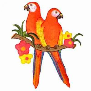 Birds - Parrots - Two Orange Parrots on Branch Iron On Patch App