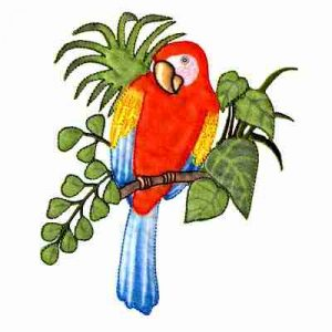 Birds - Parrots - Orange Parrot on Branch Iron On Patch Applique