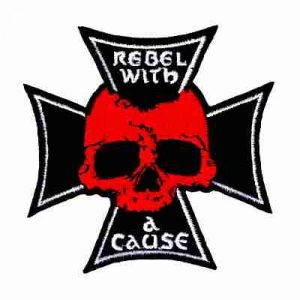 Rebel with A Cause Iron On Biker's Patch