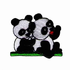 Panda Bear Twins Iron On Applique