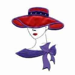 Red Hat Lady Iron on Patch Applique