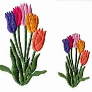 Colorful Bunch of Large Tulips Iron On Applique