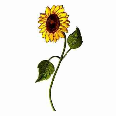 Sunflower on Stem Iron On Floral Applique