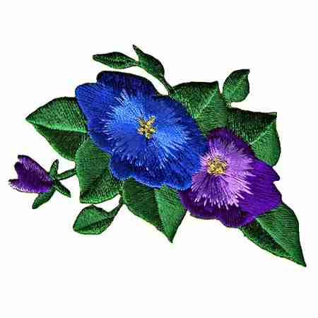 Blue /& Purple Pansies Iron On Floral Patch Applique 3″W X 2″H.