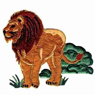 Lion in Jungle Brush Iron On Safari Patch Applique