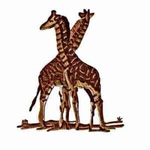 Giraffes - Large Pair of Friendly Giraffes Iron On Patch Appliqu