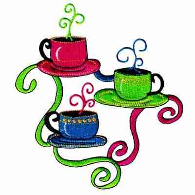 Coffee - 3 Cups of Hot Coffee Iron On Patch Applique