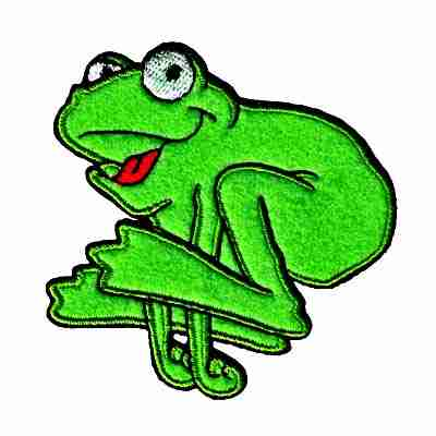Frog - Green Hopping Frog Iron On Animal Patch Applique