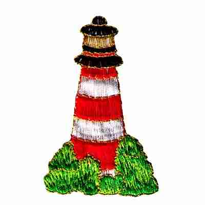 Red, Black & White Iron On Lighthouse Patch Applique