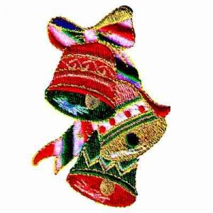 Three Christmas Bells Iron On Holiday Patch Applique - 3 left!