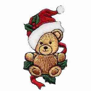 Christmas Bear in Holly Iron on Applique Patch