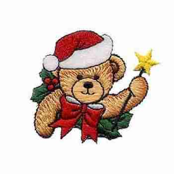 Christmas Bear with Wand Iron on Patch Applique