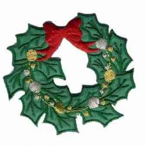 Christmas Holiday Wreath Iron On Patch Appilque -