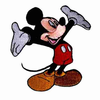 Disney Mickey Mouse Hands Behind Back Iron-on Cartoon Embroidered Patch Applique