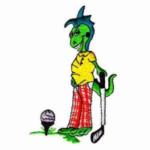 Golf - Golfing Lizard Iron On Sports Patch Applique
