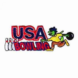 "Bowling - USA Bowling Lizard 1-1/4""H Iron On Patch Applique"