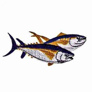 Fish - Double Yellow Fin Tuna Iron On Fishing Patch Applique