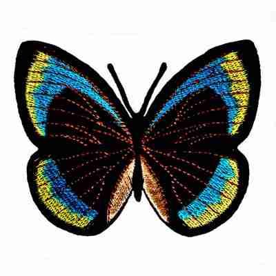 Butterflies - Teal, Black, Yellow Iron On Butterfly Patch Appliq