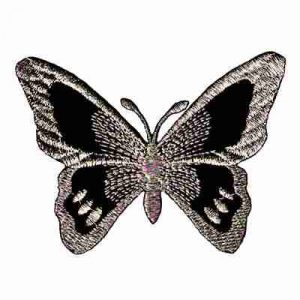 Butterflies - Black & Silver Iron On Embroidered Butterfly Appli