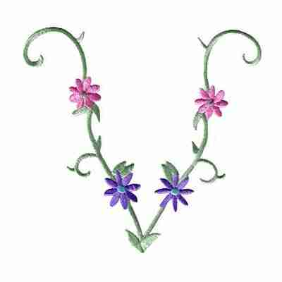 'V'-Vine Daisies Iron On Floral Patch Applique