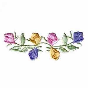 Strip of Roses on Vine Iron on Floral Applique