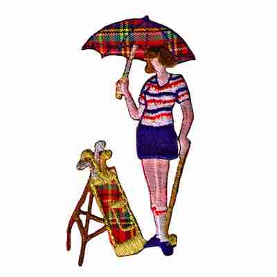 Golf - Lady Golfer with Umbrella Iron On Sports Patch