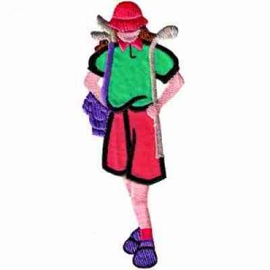 Golf - Lady Golfer with Golf Clubs Iron On Golf Patch