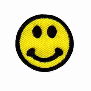 "Smiley Face 1-1/4"" round Iron On Patch Applique"