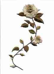 Large Beige/Brown Roses Iron On Applique