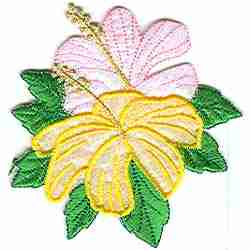 Pink and Yellow Hibiscus Floral applique