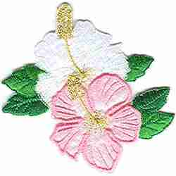 Pink and White Hibiscus Floral Applique