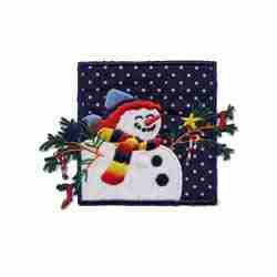 Christmas Snowman Square Iron On Holiday Patch