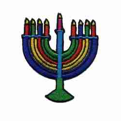 Hanukkah - Menorah Candelabra Iron On Patch Applique